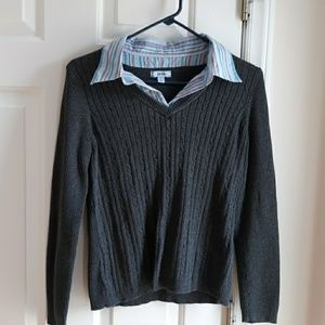 Izod gray sweater with collared insert
